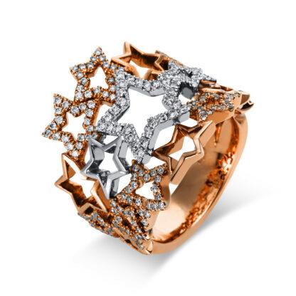 18 kt vörös arany / fehérarany több köves gyűrű 200 gyémánttal 1K727RW853-1