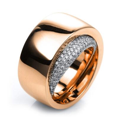 18 kt vörös arany / fehérarany több köves gyűrű 72 gyémánttal 1C426RW854-1
