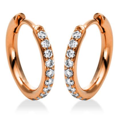 18 kt vörös arany karika és huggie 20 gyémánttal 2I015R8-1
