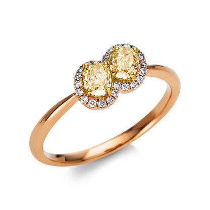 18 kt vörös arany / sárga arany több köves gyűrű 26 gyémánttal 1U310RG853-1