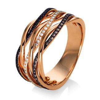 18 kt vörös arany több köves gyűrű 123 gyémánttal 1P122R855-1