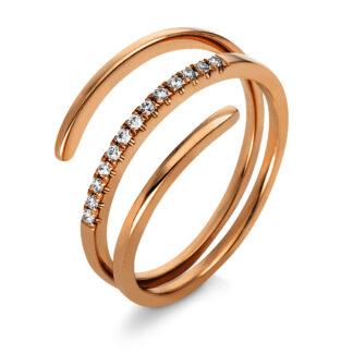 18 kt vörös arany több köves gyűrű 13 gyémánttal 1N011R853-1
