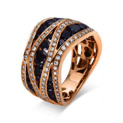 18 kt vörös arany több köves gyűrű 137 gyémánttal 1F298R853-4