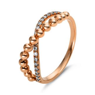 18 kt vörös arany több köves gyűrű 20 gyémánttal 1N805R853-1