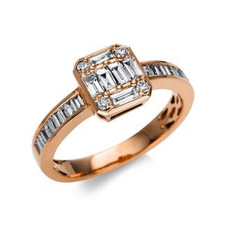 18 kt vörös arany több köves gyűrű 30 gyémánttal 1U317R853-1