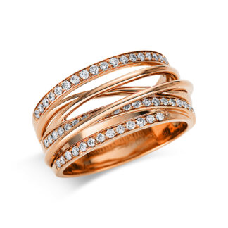 18 kt vörös arany több köves gyűrű 57 gyémánttal 1G421R854-1