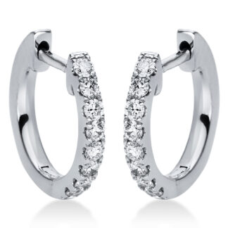 18 kt white gold hoops & huggies with 16 diamonds 2I874W8-1