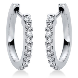 18 kt white gold hoops & huggies with 18 diamonds 2I873W8-2