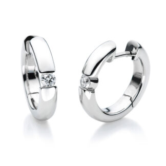 18 kt white gold hoops & huggies with 2 diamonds 2A023W8-7