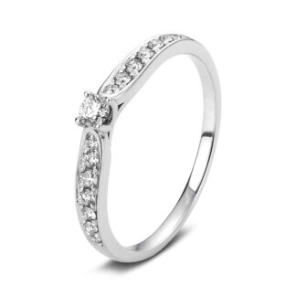 18 kt white gold solitaire with side stones with 15 diamonds 1A429W856-1