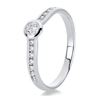 18 kt white gold solitaire with side stones with 15 diamonds 1C523W854-1