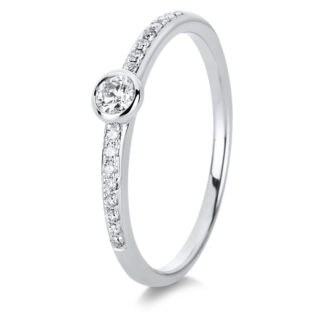 18 kt white gold solitaire with side stones with 17 diamonds 1C525W854-1