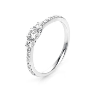 18 kt white gold solitaire with side stones with 19 diamonds 1K434W854-5