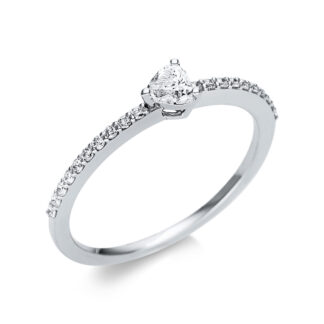 18 kt white gold solitaire with side stones with 21 diamonds 1U612W854-5