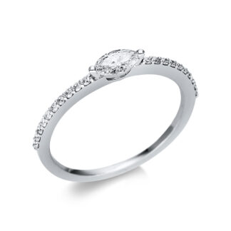 18 kt white gold solitaire with side stones with 21 diamonds 1U615W854-7