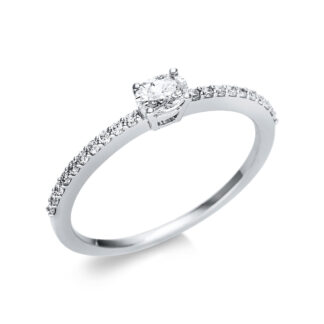 18 kt white gold solitaire with side stones with 21 diamonds 1U630W854-7