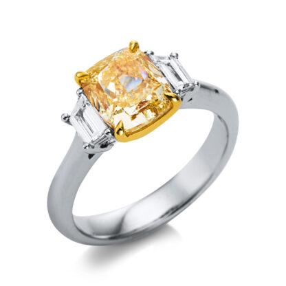 18 kt white gold / yellow gold multi stone with 3 diamonds 1S084WG854-2