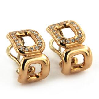 Yellow gold earrings with diamonds 40529 01