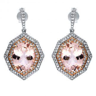 14 kt  earrings with 166 diamonds