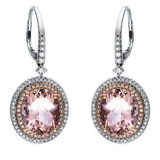 14 kt  earrings with 178 diamonds