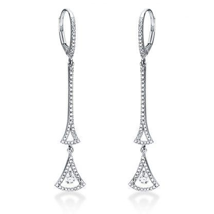 14 kt fehérarany fülbevaló 136 gyémánttal 2I934W4-1