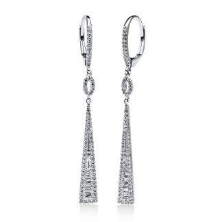 14 kt fehérarany fülbevaló 150 gyémánttal 2D075W4-2