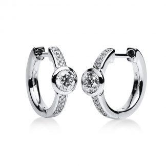 14 kt fehérarany karika és huggie 22 gyémánttal 2B651W4-2