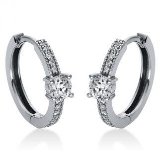 14 kt fehérarany karika és huggie 26 gyémánttal 2H866W4-1