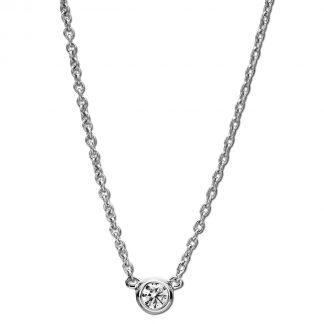 14 kt fehérarany nyaklánc 1 gyémánttal 4A005W4-6