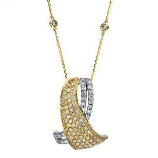 14 kt fehérarany / sárga arany nyaklánc 109 gyémánttal 4F288WG4-1