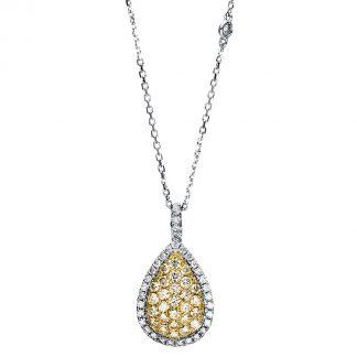 14 kt fehérarany / sárga arany nyaklánc 63 gyémánttal 4F428WG4-1