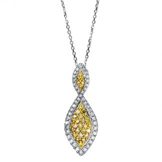 14 kt fehérarany / sárga arany nyaklánc 76 gyémánttal 4F427WG4-1