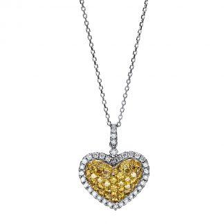 14 kt fehérarany / sárga arany nyaklánc 80 gyémánttal 4F451WG4-1