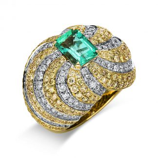 14 kt fehérarany / sárga arany színes drágakő 290 gyémánttal