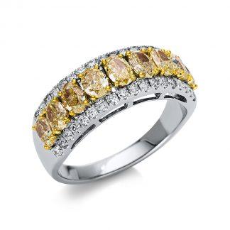 14 kt fehérarany / sárga arany több köves gyűrű 45 gyémánttal 1T937WG454-1