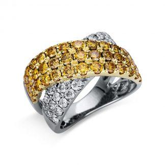 14 kt fehérarany / sárga arany több köves gyűrű 63 gyémánttal 1U180WG454-1