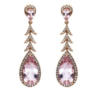 14 kt red gold earrings with 124 diamonds