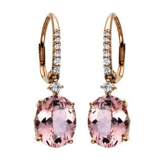 14 kt red gold earrings with 14 diamonds