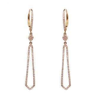 14 kt red gold earrings with 144 diamonds 2C563R4-4