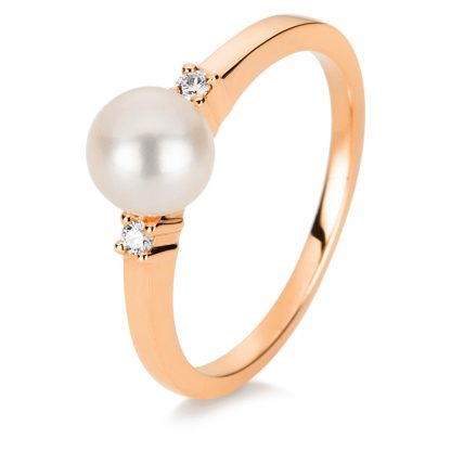 14 kt red gold pearl with 2 diamonds