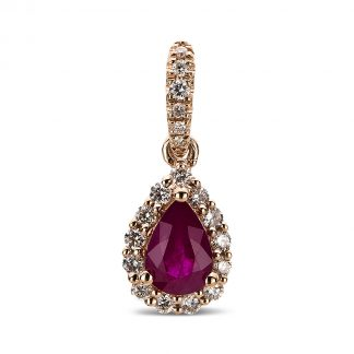 14 kt red gold pendant with 19 diamonds