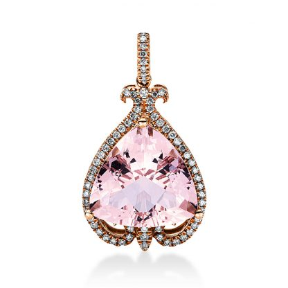 14 kt red gold pendant with 66 diamonds