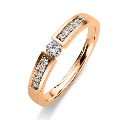 14 kt red gold solitaire with side stones with 11 diamonds 1A402R454-1