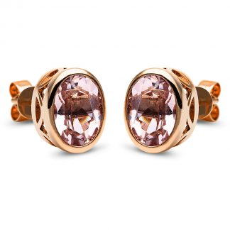 14 kt red gold studs with 2 color stones 2I727R4-1