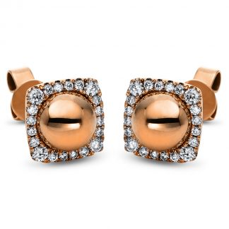 14 kt red gold studs with 40 diamonds 2H258R4-1