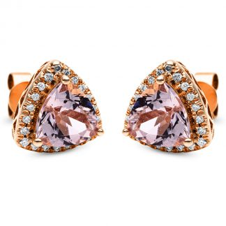 14 kt red gold studs with 42 diamonds