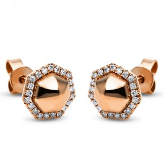 14 kt red gold studs with 42 diamonds 2H262R4-1