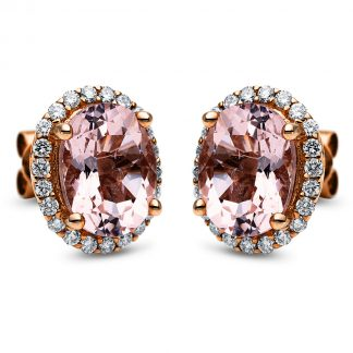 14 kt red gold studs with 44 diamonds