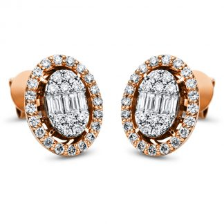 14 kt red gold / white gold studs with 70 diamonds 2I800RW4-1