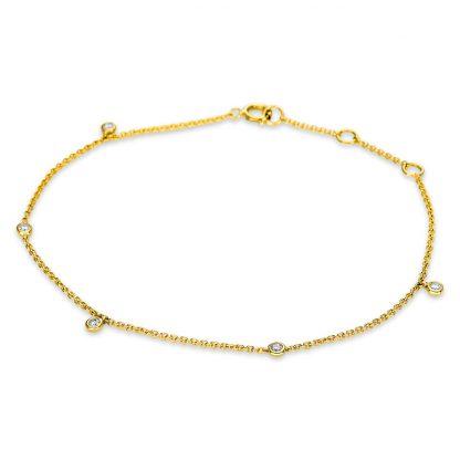 14 kt sárga arany karkötő 5 gyémánttal 5B497G4-1